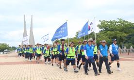 Students complete a 230km march, reliving the spirit of independence activists
